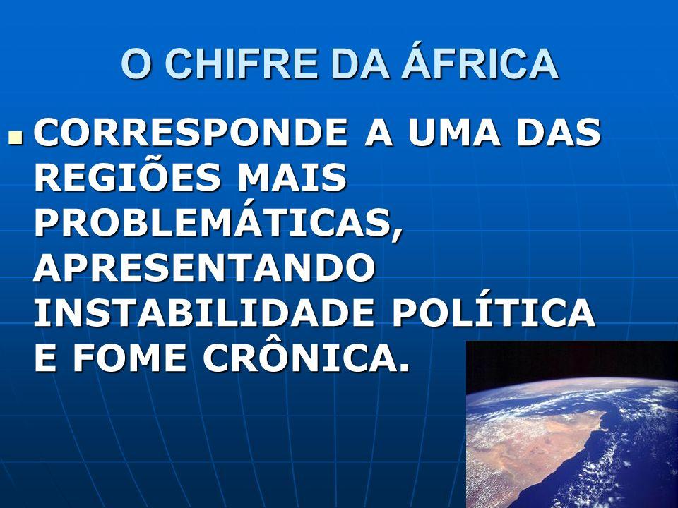 O CHIFRE DA ÁFRICA CORRESPONDE A UMA DAS REGIÕES MAIS PROBLEMÁTICAS, APRESENTANDO INSTABILIDADE POLÍTICA E FOME CRÔNICA. CORRESPONDE A UMA DAS REGIÕES