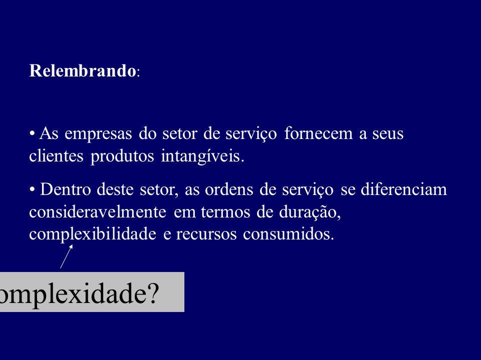 Relembrando : As empresas do setor de serviço fornecem a seus clientes produtos intangíveis. Dentro deste setor, as ordens de serviço se diferenciam c