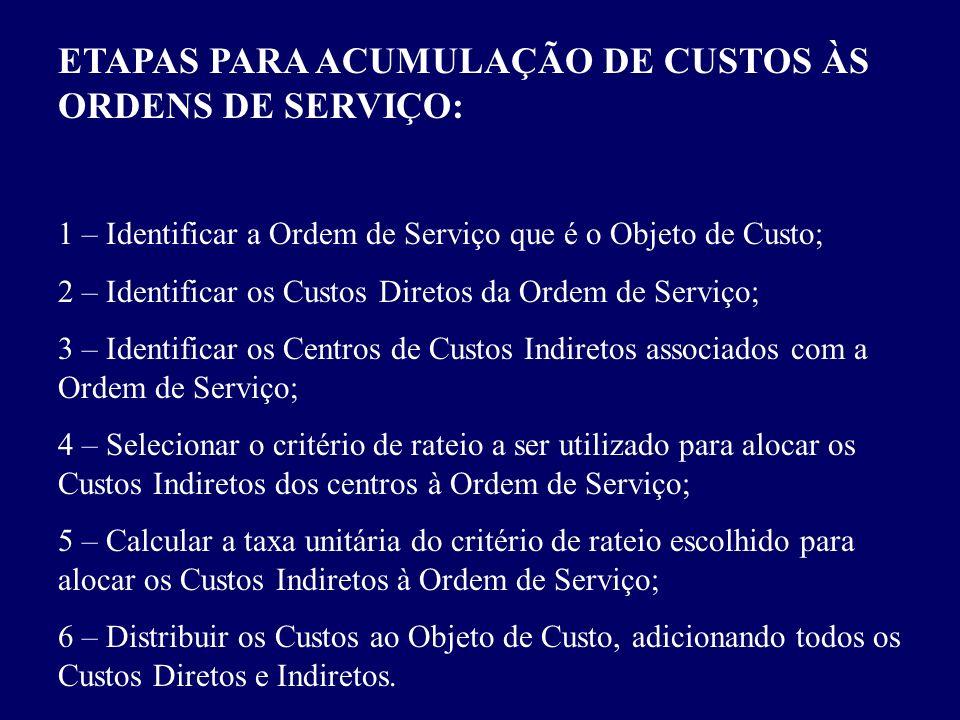 ETAPAS PARA ACUMULAÇÃO DE CUSTOS ÀS ORDENS DE SERVIÇO: 1 – Identificar a Ordem de Serviço que é o Objeto de Custo; 2 – Identificar os Custos Diretos d