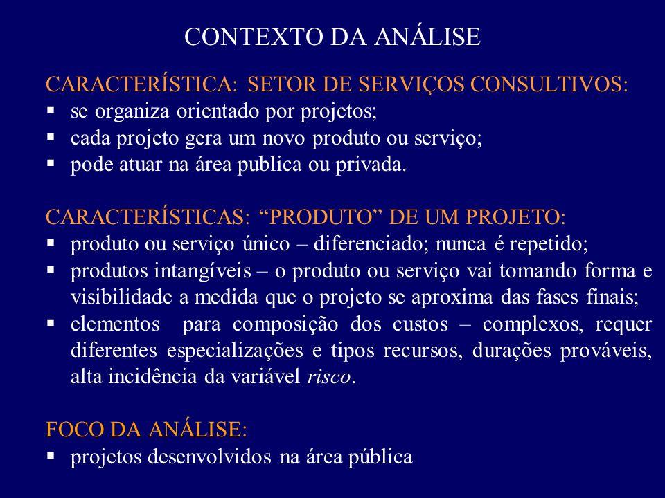 CONTEXTO DA ANÁLISE CARACTERÍSTICA: SETOR DE SERVIÇOS CONSULTIVOS: se organiza orientado por projetos; cada projeto gera um novo produto ou serviço; p