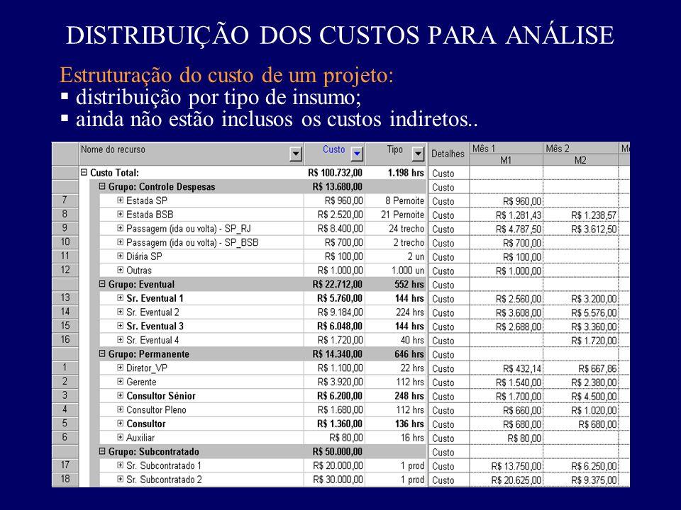 Estruturação do custo de um projeto: distribuição por tipo de insumo; ainda não estão inclusos os custos indiretos.. DISTRIBUIÇÃO DOS CUSTOS PARA ANÁL
