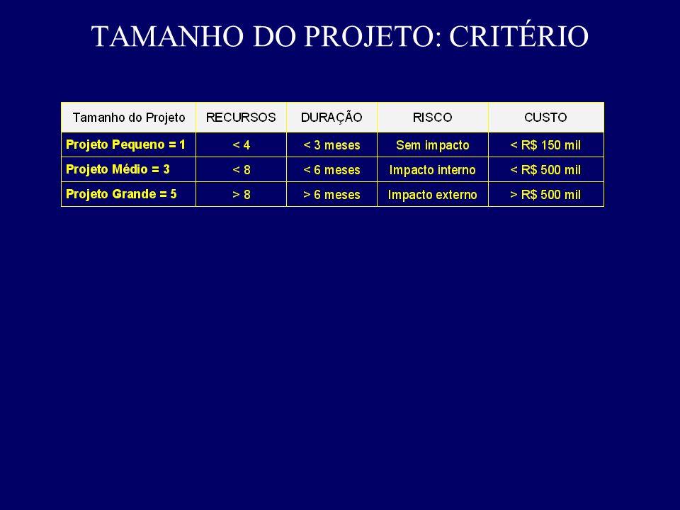 TAMANHO DO PROJETO: CRITÉRIO