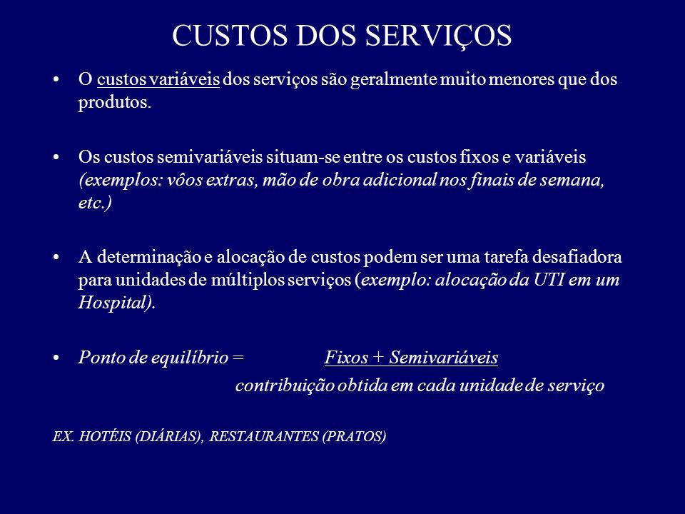 O custos variáveis dos serviços são geralmente muito menores que dos produtos. Os custos semivariáveis situam-se entre os custos fixos e variáveis (ex