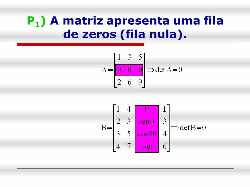 P 1 ) A matriz apresenta uma fila de zeros (fila nula).