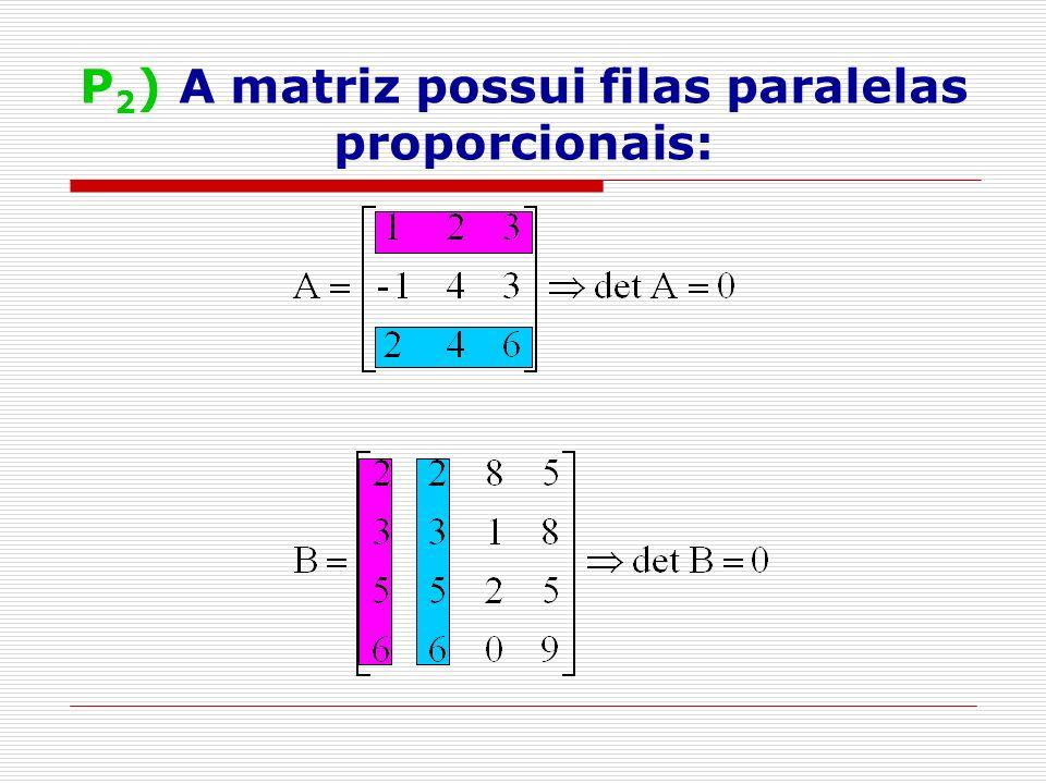P 3 ) Uma fila é a combinação linear de outras filas paralelas: