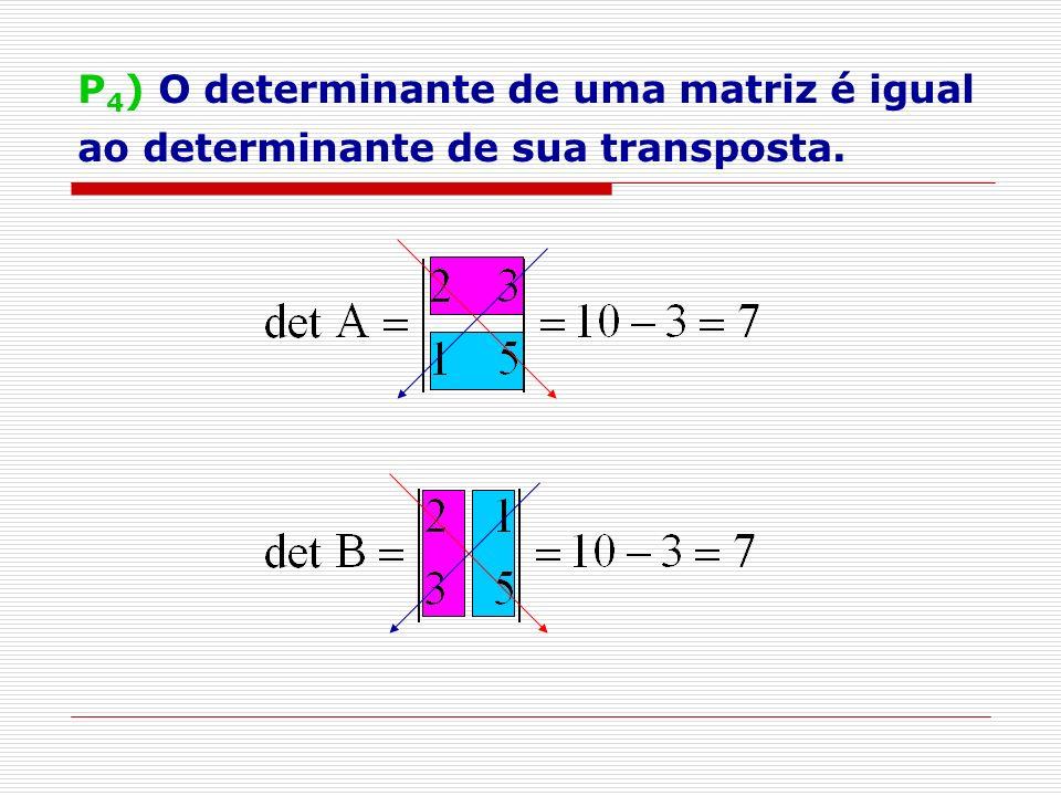 P 5 ) Teorema de Binet det (A.B) = det A. detB