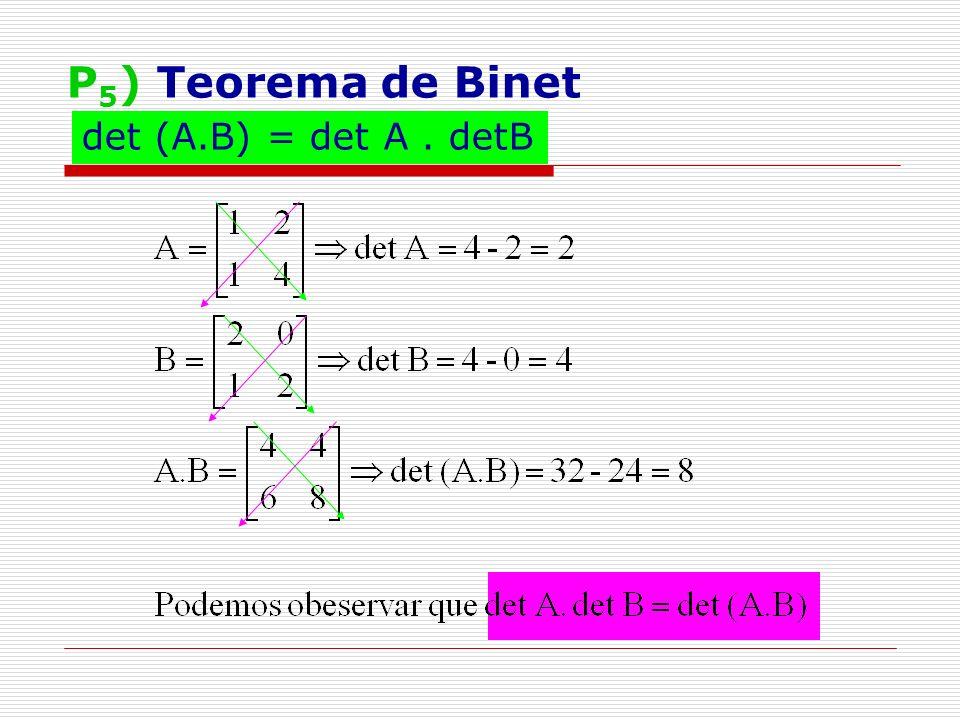 P 6 ) Troca de filas paralelas Dada uma matriz A nxn, se trocarmos as posições de duas filas de A, teremos uma nova matriz B nxn, cujo determinante é igual ao determinante de A mudando-se apenas o sinal (+ ou -).