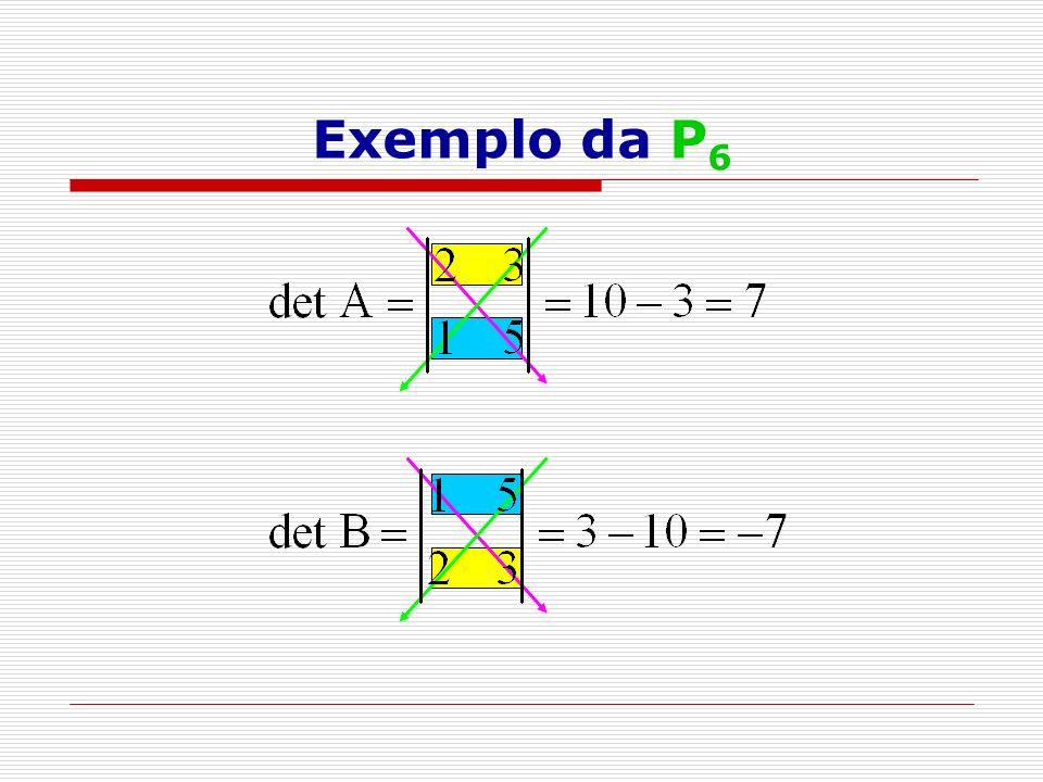 P 12 ) Teorema de Jacobi Multiplicando-se uma fila de uma matriz A por um número real não- nulo e adicionando-se o resultado à outra fila, o seu determinante fica inalterado.