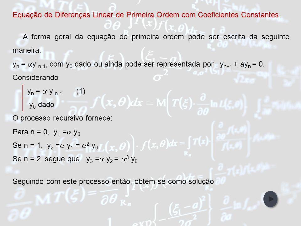 IntroduçãoObjetivos Abordagem Metodológica Participantes da Pesquisa Referências Bibliográficas Unidades de Ensino EQUAÇÕES DE DIFERENÇAS Uma equação de diferença, ou fórmulas de recorrência, é uma relação entre os termos de uma sucessão e indica-se, em geral, com a seguinte notação { y n } = { y 0, y 1, y 2,...} Pode-se também considerar o termo {y n+1 } como a sucessão obtida eliminando y 0 na sucessão inicial: { y n+1 } = { y 1, y 2, y 3, y 4...} E assim, a equação de diferenças é uma relação entre os termos de duas sucessões.