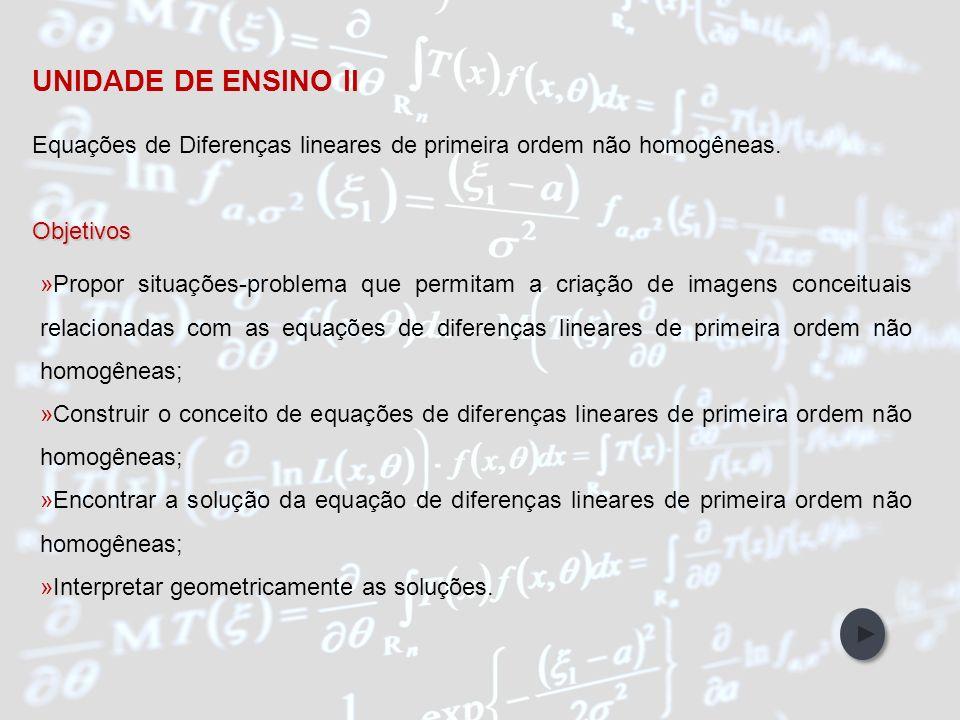 IntroduçãoObjetivos Abordagem Metodológica Participantes da Pesquisa Referências Bibliográficas Unidades de Ensino UNIDADE DE ENSINO II Equações de Di