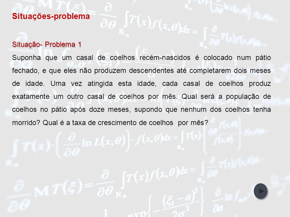 IntroduçãoObjetivos Abordagem Metodológica Participantes da Pesquisa Referências Bibliográficas Unidades de Ensino Reprodução dos coelhos Solução Solução Modelo Inibidor de Fibonaci