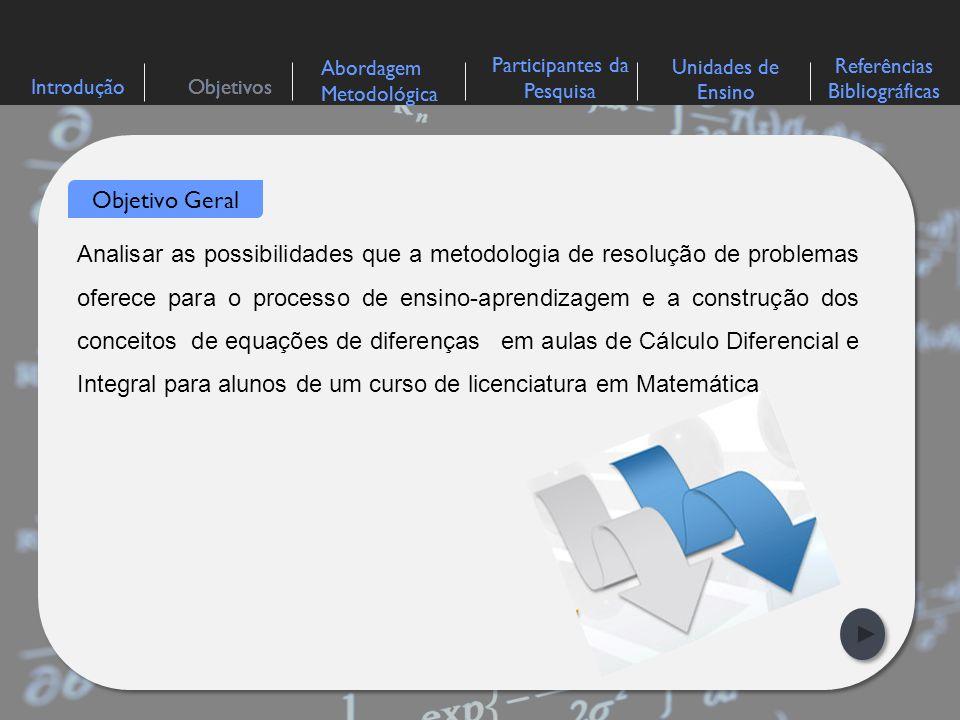 IntroduçãoObjetivos Abordagem Metodológica Participantes da Pesquisa Referências Bibliográficas Unidades de Ensino >> Diagnosticar as concepções prévias dos alunos acerca dos conceitos de variáveis discretas e contínuas relacionadas com equações diferenciais ordinárias e equações de diferenças; >> Verificar, por meio de situações-problema, a aprendizagem adquirida pelos alunos, quando da utilização da metodologia de resolução de problemas; >> Analisar, a partir dos resultados obtidos, de que forma a metodologia de resolução de problemas contribuiu para o processo de ensino- aprendizagem e a construção dos conceitos relacionados com as equações de diferenças.