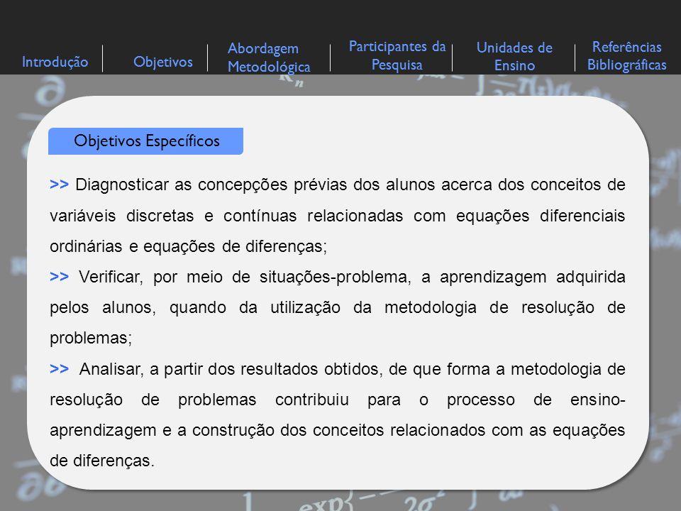 IntroduçãoObjetivos Abordagem Metodológica Participantes da Pesquisa Referências Bibliográficas Unidades de Ensino >> Diagnosticar as concepções prévi