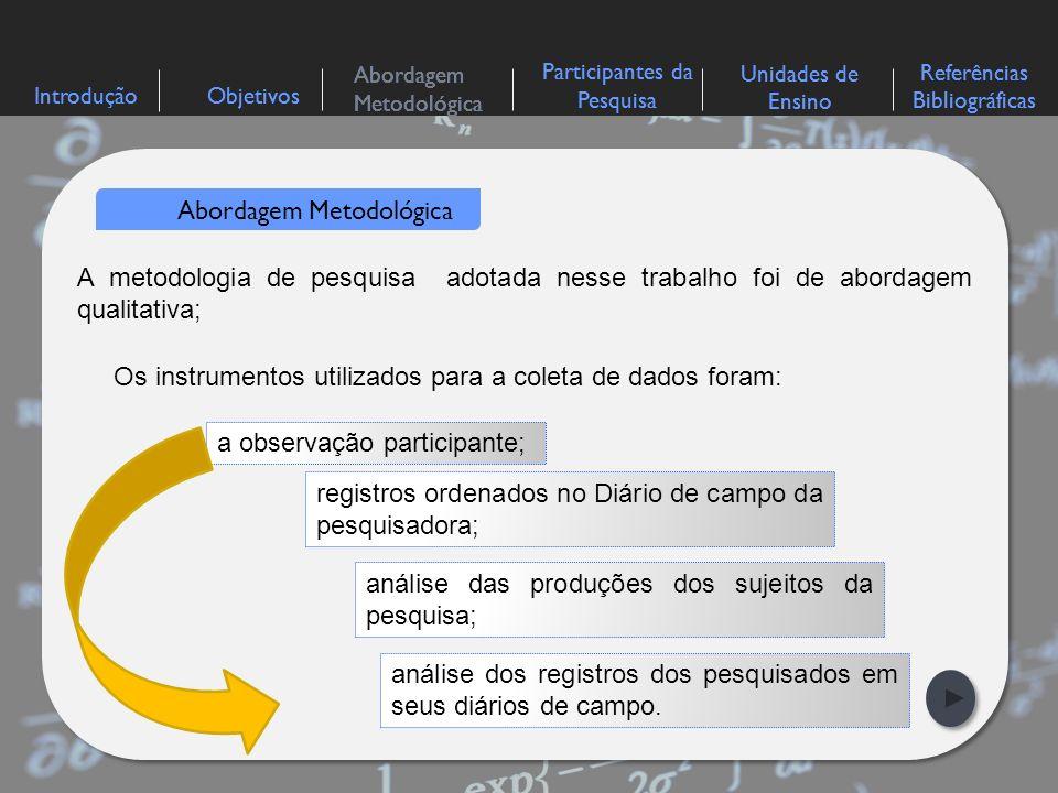 IntroduçãoObjetivos Abordagem Metodológica Participantes da Pesquisa Referências Bibliográficas Unidades de Ensino Abordagem Metodológica A metodologia de ensino utilizada em sala de aula foi a Resolução de Problemas.