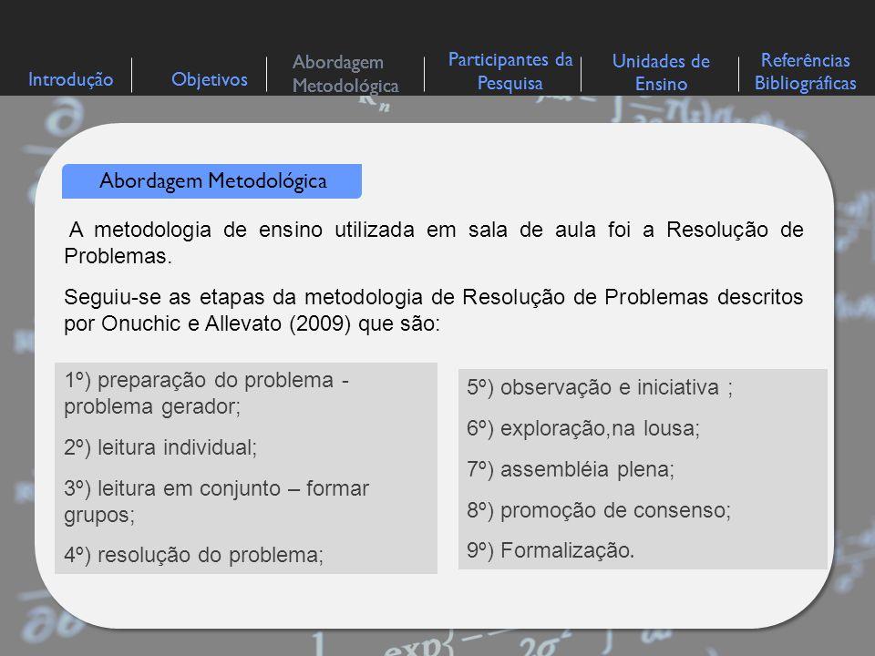 IntroduçãoObjetivos Abordagem Metodológica Participantes da Pesquisa Referências Bibliográficas Unidades de Ensino Abordagem Metodológica A metodologi