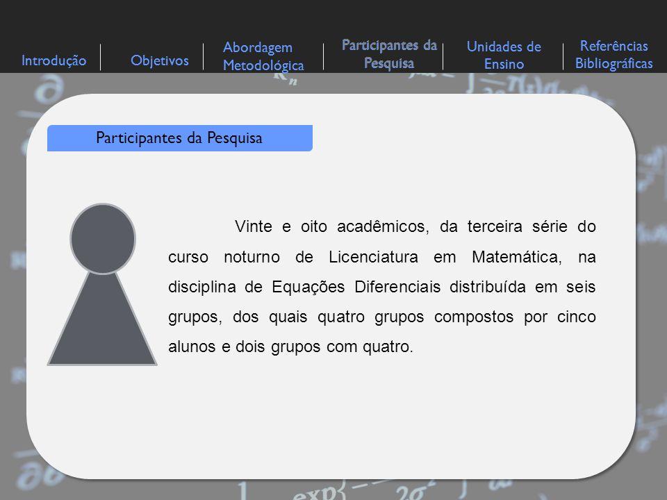 IntroduçãoObjetivos Abordagem Metodológica Participantes da Pesquisa Referências Bibliográficas Unidades de Ensino Participantes da Pesquisa Vinte e o