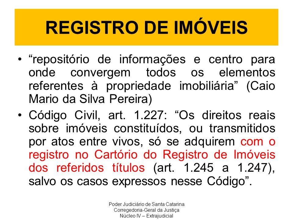 REGISTRO DE IMÓVEIS repositório de informações e centro para onde convergem todos os elementos referentes à propriedade imobiliária (Caio Mario da Sil