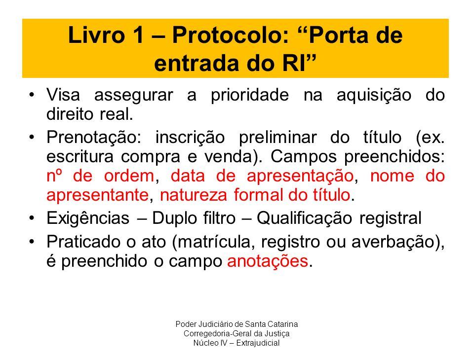 Livro 1 – Protocolo: Porta de entrada do RI Visa assegurar a prioridade na aquisição do direito real. Prenotação: inscrição preliminar do título (ex.