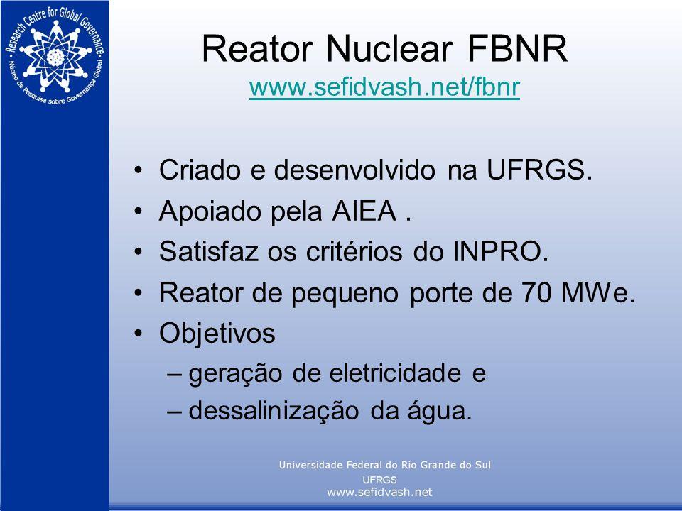 Reator Nuclear FBNR www.sefidvash.net/fbnr www.sefidvash.net/fbnr Criado e desenvolvido na UFRGS. Apoiado pela AIEA. Satisfaz os critérios do INPRO. R