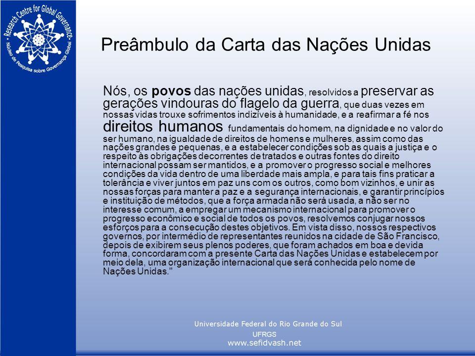 Preâmbulo da Carta das Nações Unidas Nós, os povos das nações unidas, resolvidos a preservar as gerações vindouras do flagelo da guerra, que duas veze