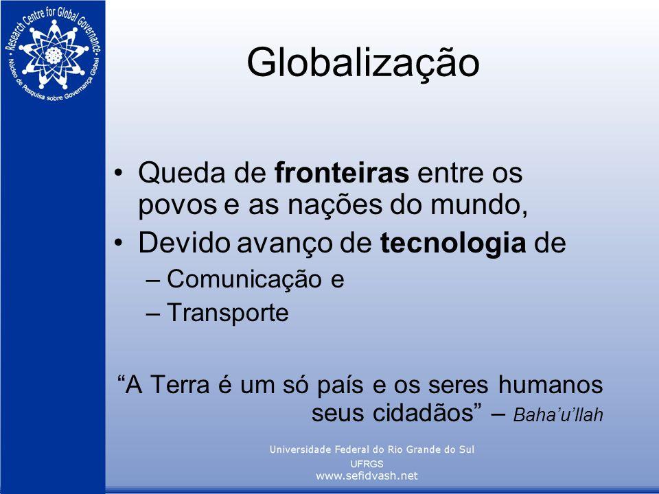 Globalização Queda de fronteiras entre os povos e as nações do mundo, Devido avanço de tecnologia de –Comunicação e –Transporte A Terra é um só país e