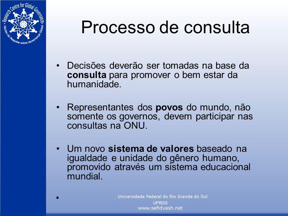 Processo de consulta Decisões deverão ser tomadas na base da consulta para promover o bem estar da humanidade. Representantes dos povos do mundo, não