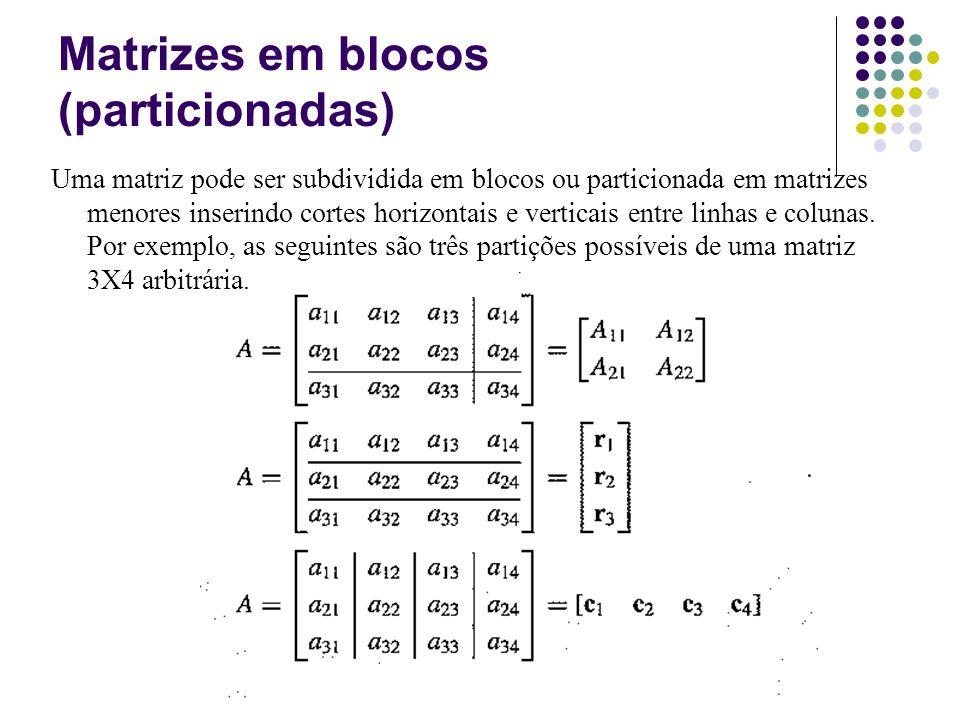 Matrizes em blocos (particionadas) Uma matriz pode ser subdividida em blocos ou particionada em matrizes menores inserindo cortes horizontais e vertic