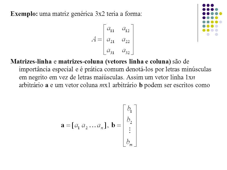 Propriedades (Produto de uma Matriz por um escalar) Acima a e b são escalares (o produto de uma matriz A por um escalar b é a matriz bA obtida pela multiplicação de cada entrada da matriz A por b).