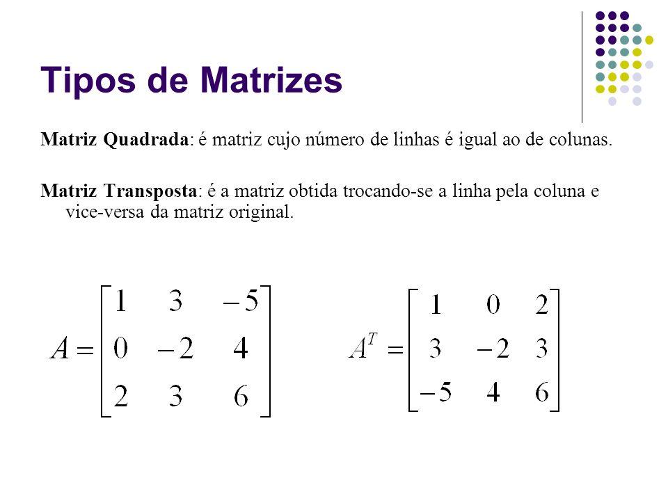 Matriz Identidade: é a matriz quadrada cujos elementos da diagonal principal são iguais a 1 e os demais elementos iguais a zero.