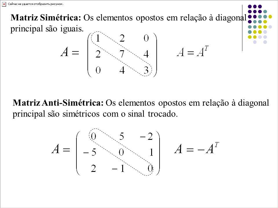 Traço de uma matriz Se A é uma matriz quadrada então o traço de A, denotado por tr(A), é definido pela soma das entradas na diagonal principal de A.