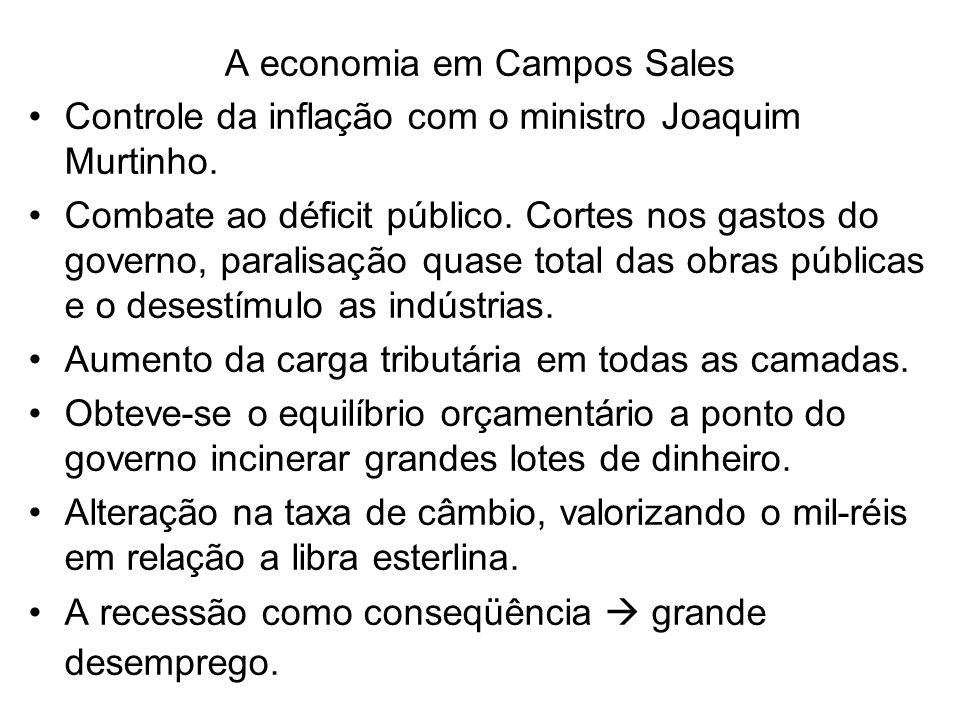 A economia em Campos Sales Controle da inflação com o ministro Joaquim Murtinho. Combate ao déficit público. Cortes nos gastos do governo, paralisação