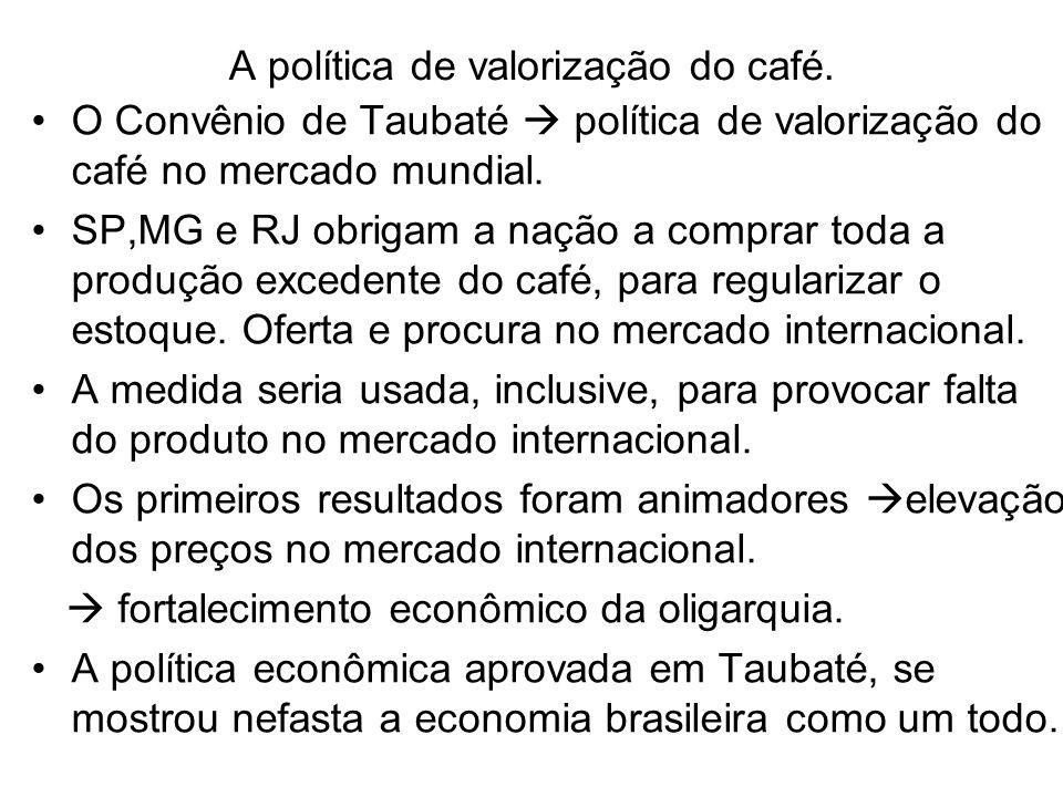 A política de valorização do café. O Convênio de Taubaté política de valorização do café no mercado mundial. SP,MG e RJ obrigam a nação a comprar toda