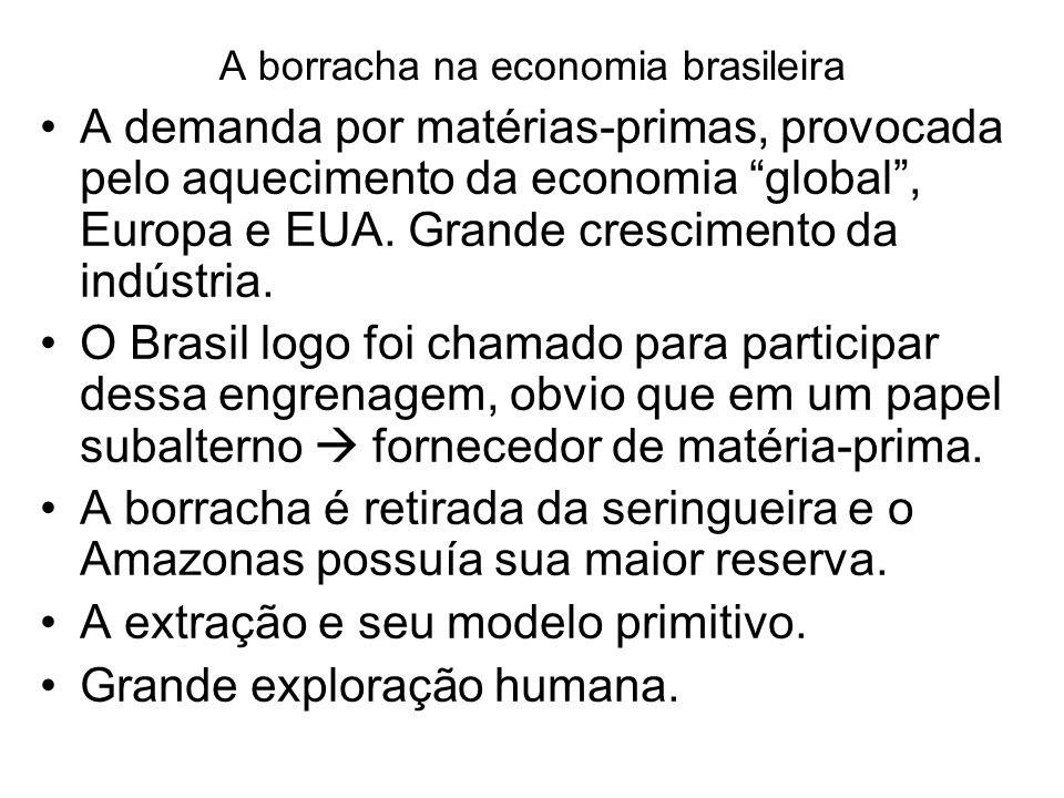 A borracha na economia brasileira A demanda por matérias-primas, provocada pelo aquecimento da economia global, Europa e EUA. Grande crescimento da in