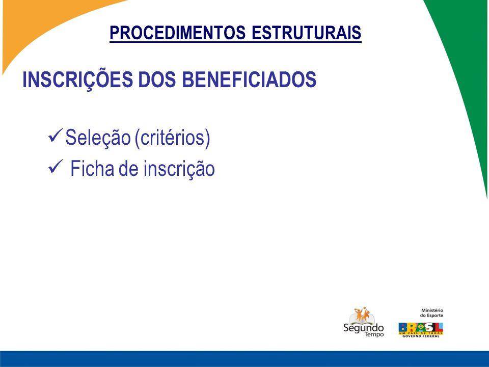 PROCEDIMENTOS ESTRUTURAIS INSCRIÇÕES DOS BENEFICIADOS Seleção (critérios) Ficha de inscrição