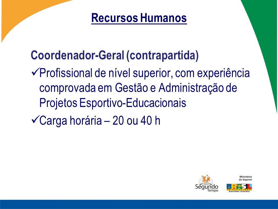 Recursos Humanos Coordenador-Geral (contrapartida) Profissional de nível superior, com experiência comprovada em Gestão e Administração de Projetos Es