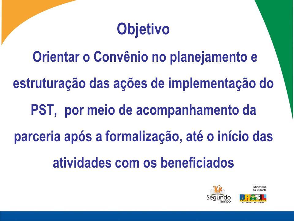 Objetivo Orientar o Convênio no planejamento e estruturação das ações de implementação do PST, por meio de acompanhamento da parceria após a formaliza