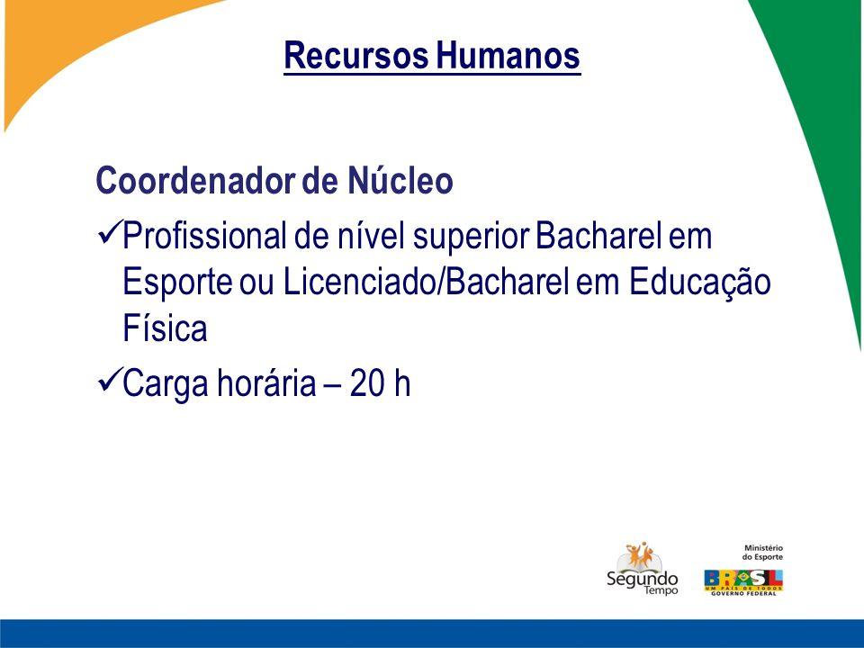 Recursos Humanos Coordenador de Núcleo Profissional de nível superior Bacharel em Esporte ou Licenciado/Bacharel em Educação Física Carga horária – 20