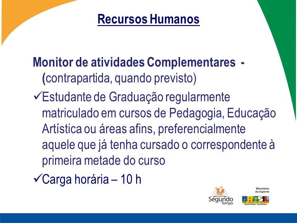 Recursos Humanos Monitor de atividades Complementares - ( contrapartida, quando previsto) Estudante de Graduação regularmente matriculado em cursos de