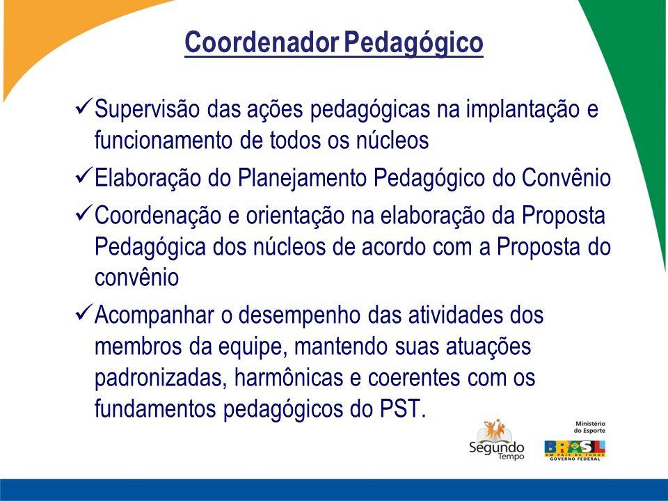 Coordenador Pedagógico Supervisão das ações pedagógicas na implantação e funcionamento de todos os núcleos Elaboração do Planejamento Pedagógico do Co