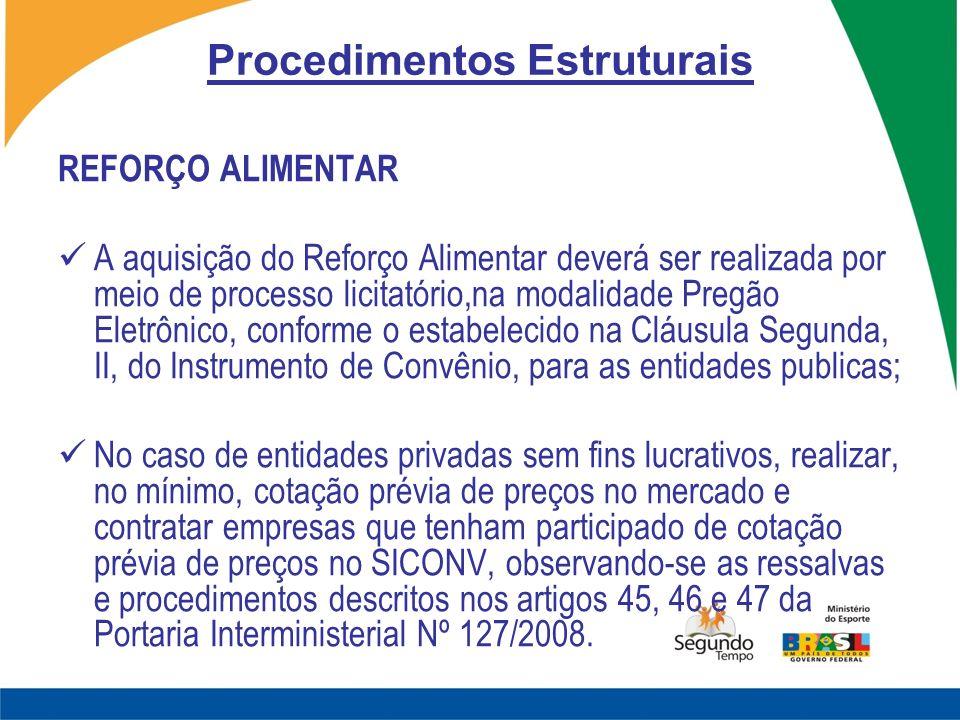 Procedimentos Estruturais REFORÇO ALIMENTAR A aquisição do Reforço Alimentar deverá ser realizada por meio de processo licitatório,na modalidade Pregã
