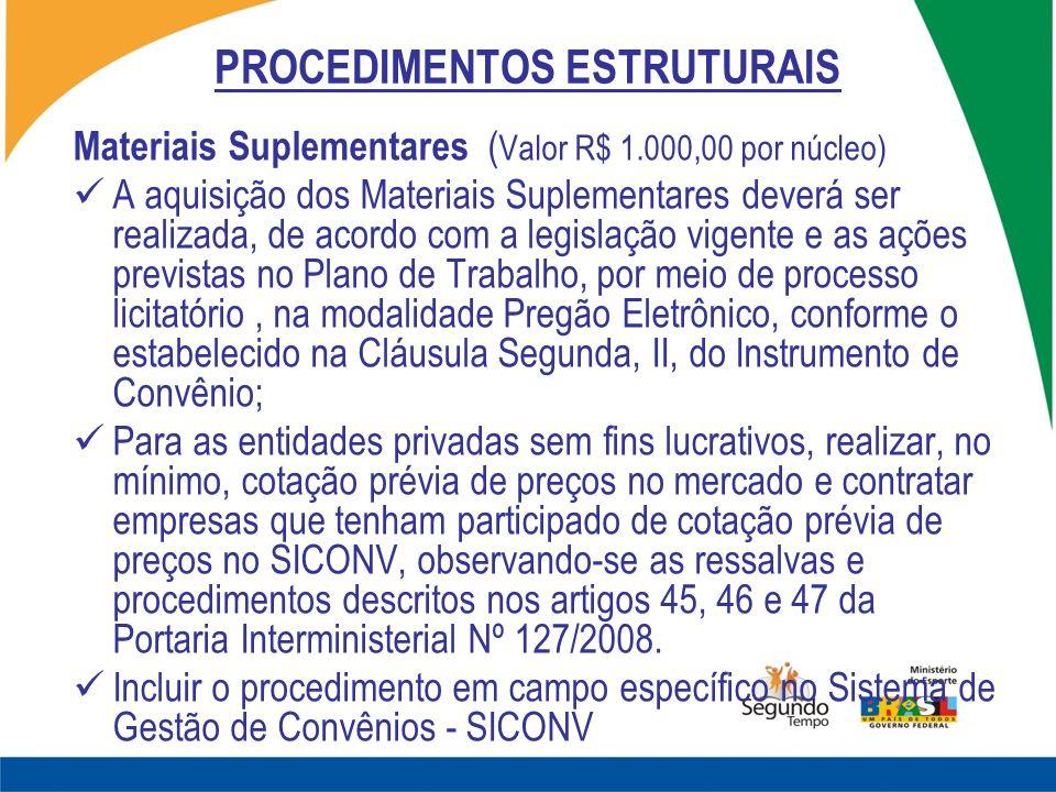 PROCEDIMENTOS ESTRUTURAIS Materiais Suplementares ( Valor R$ 1.000,00 por núcleo) A aquisição dos Materiais Suplementares deverá ser realizada, de aco