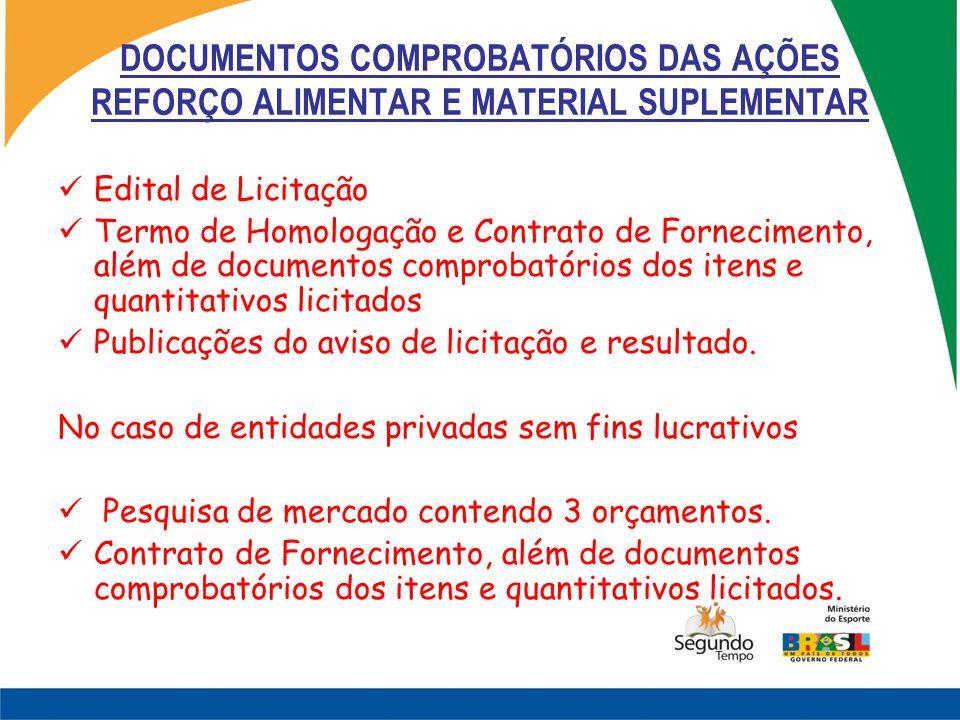 DOCUMENTOS COMPROBATÓRIOS DAS AÇÕES REFORÇO ALIMENTAR E MATERIAL SUPLEMENTAR Edital de Licitação Termo de Homologação e Contrato de Fornecimento, além