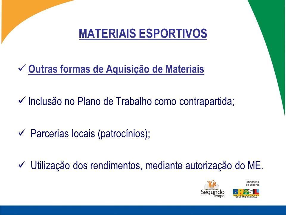 MATERIAIS ESPORTIVOS Outras formas de Aquisição de Materiais Inclusão no Plano de Trabalho como contrapartida; Parcerias locais (patrocínios); Utiliza