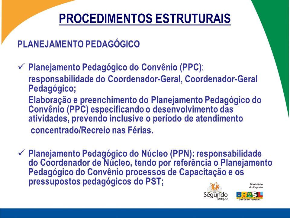 PROCEDIMENTOS ESTRUTURAIS PLANEJAMENTO PEDAGÓGICO Planejamento Pedagógico do Convênio (PPC) : responsabilidade do Coordenador-Geral, Coordenador-Geral
