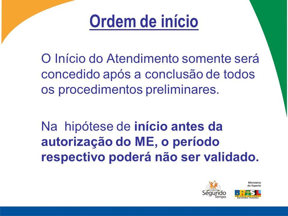 Ordem de início O Início do Atendimento somente será concedido após a conclusão de todos os procedimentos preliminares. Na hipótese de início antes da