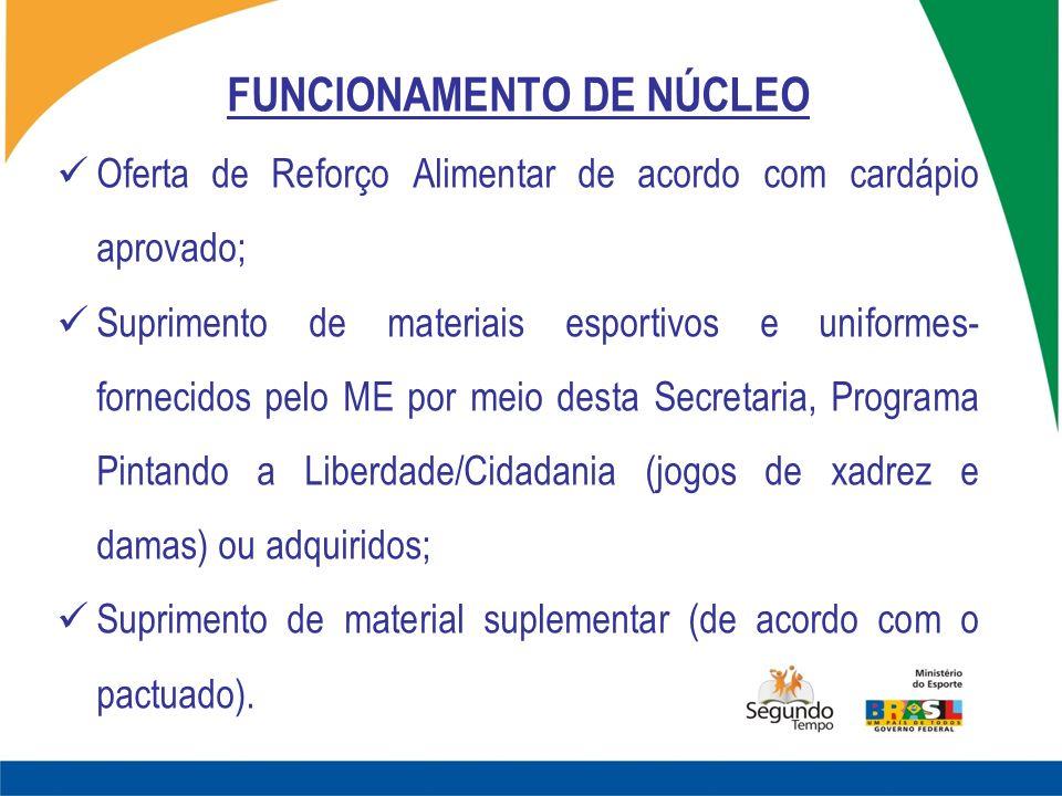 FUNCIONAMENTO DE NÚCLEO Oferta de Reforço Alimentar de acordo com cardápio aprovado; Suprimento de materiais esportivos e uniformes- fornecidos pelo M