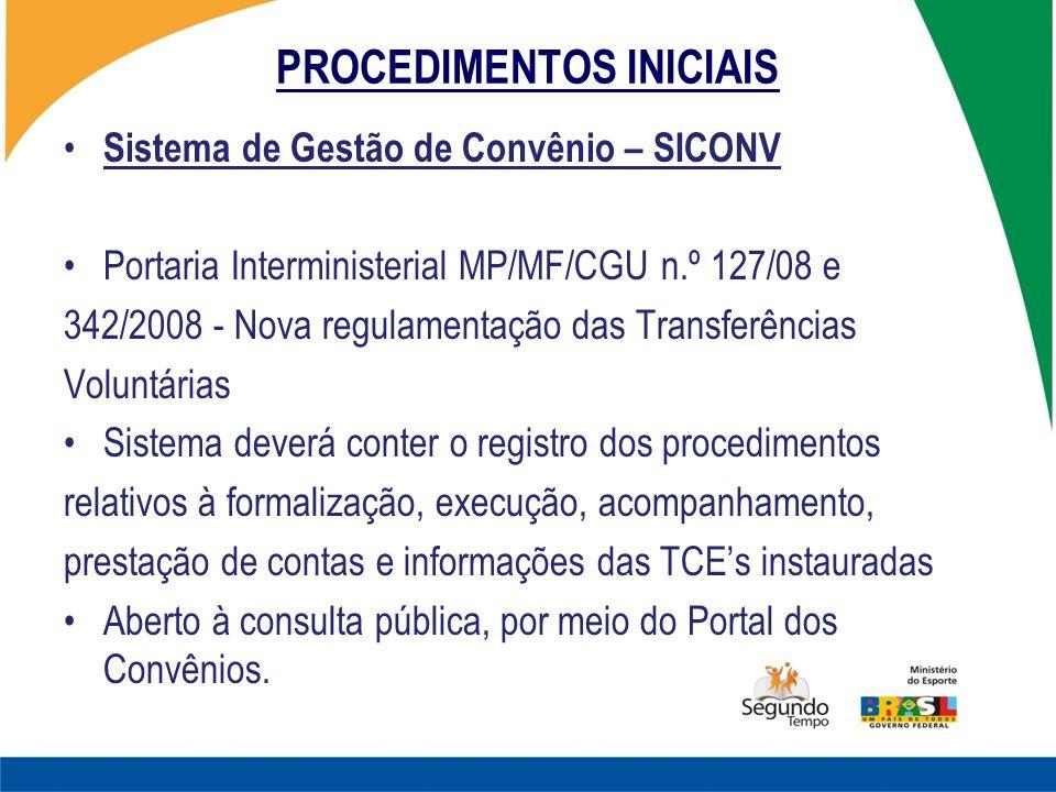 PROCEDIMENTOS INICIAIS Sistema de Gestão de Convênio – SICONV Portaria Interministerial MP/MF/CGU n.º 127/08 e 342/2008 - Nova regulamentação das Tran