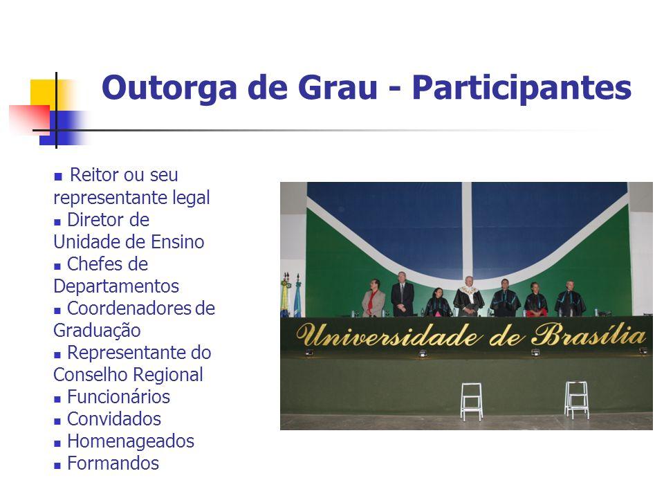 Outorga de Grau - Participantes Reitor ou seu representante legal Diretor de Unidade de Ensino Chefes de Departamentos Coordenadores de Graduação Repr