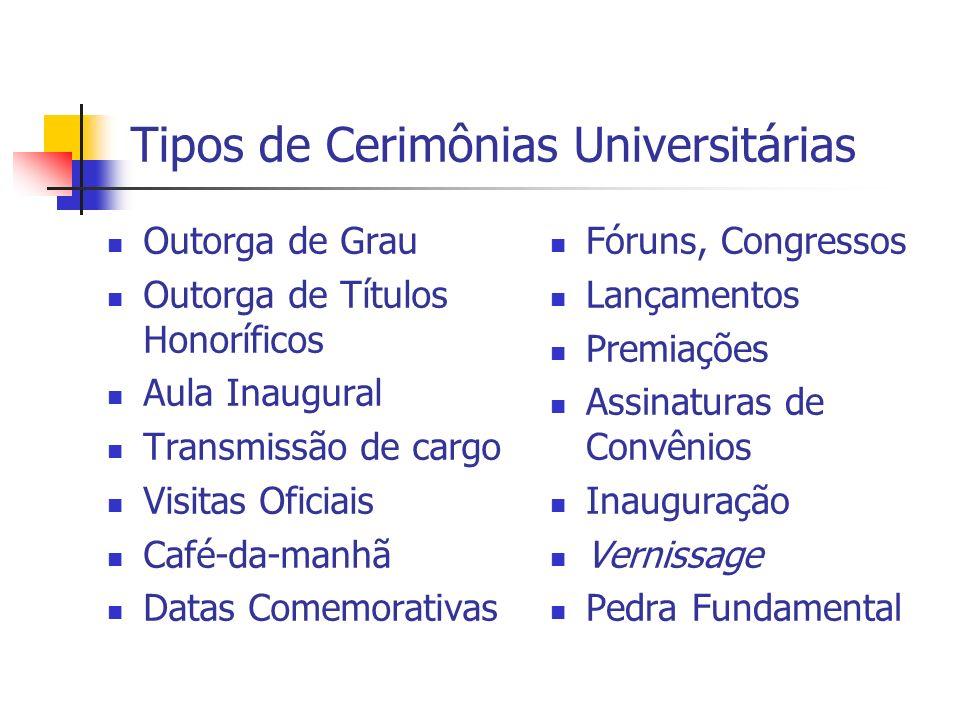 Tipos de Cerimônias Universitárias Outorga de Grau Outorga de Títulos Honoríficos Aula Inaugural Transmissão de cargo Visitas Oficiais Café-da-manhã D