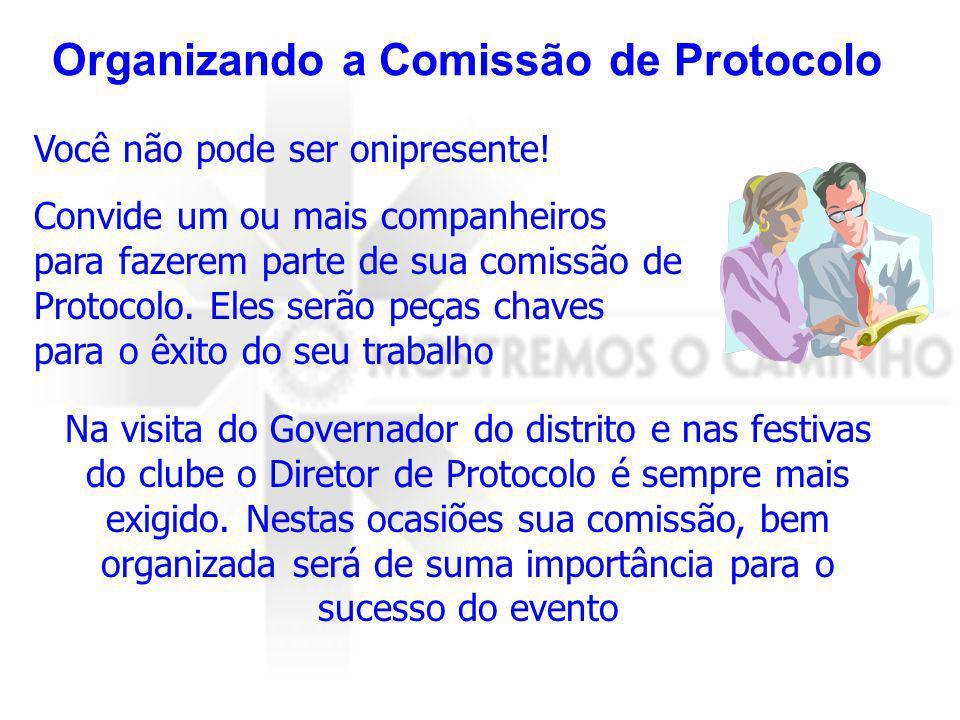 Organizando a Comissão de Protocolo Você não pode ser onipresente! Convide um ou mais companheiros para fazerem parte de sua comissão de Protocolo. El
